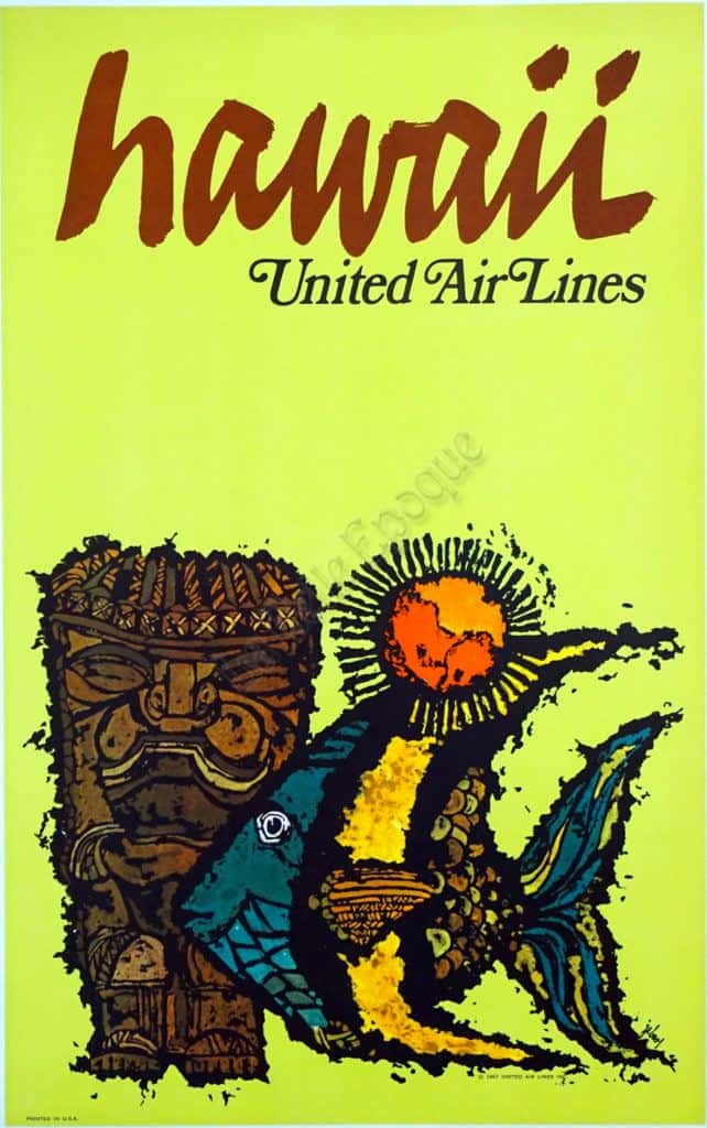 Hawaii United Airlines Vintage Posters