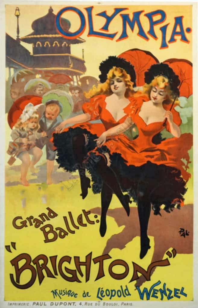 French Vintage Ballet Poster 'Brighton at the Olympia' by Pal, 1894