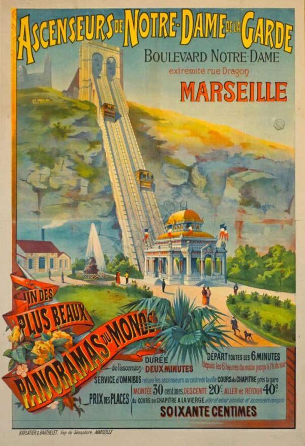 Ascenseurs de Notre Dame de la Garde Vintage Posters