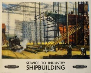 Service To Industry Shipbuilding Vintage Posters