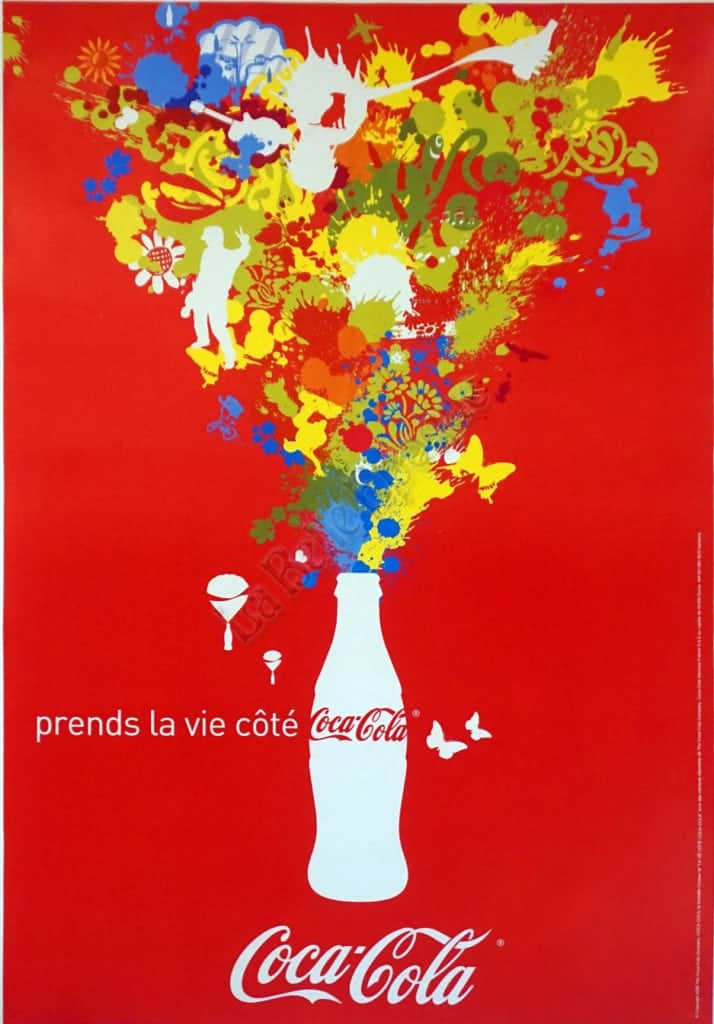 French Modern Coca Cola Poster Prends La Vie Cote Red 2006
