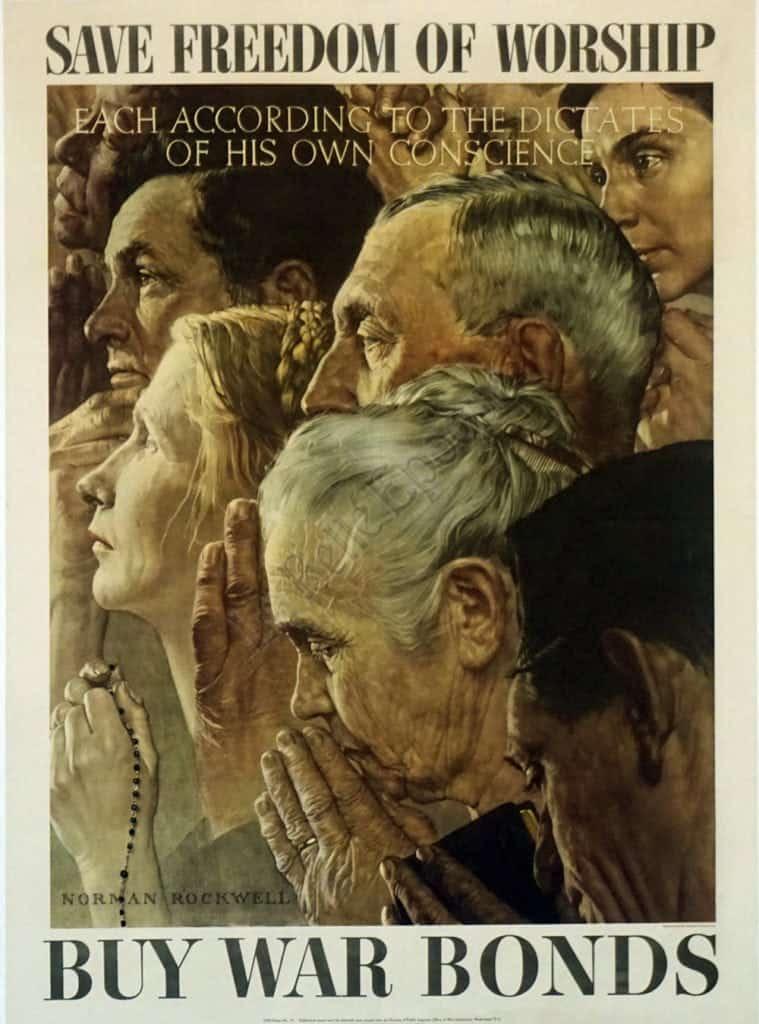 Save Freedom of Worship Buy War Bonds Vintage Posters