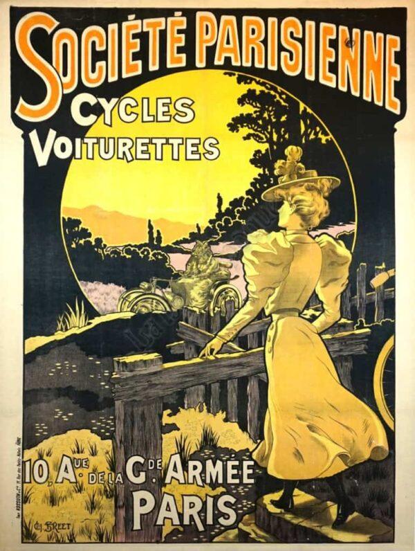 Societe Parisienne Cycles Voiturettes Vintage Posters