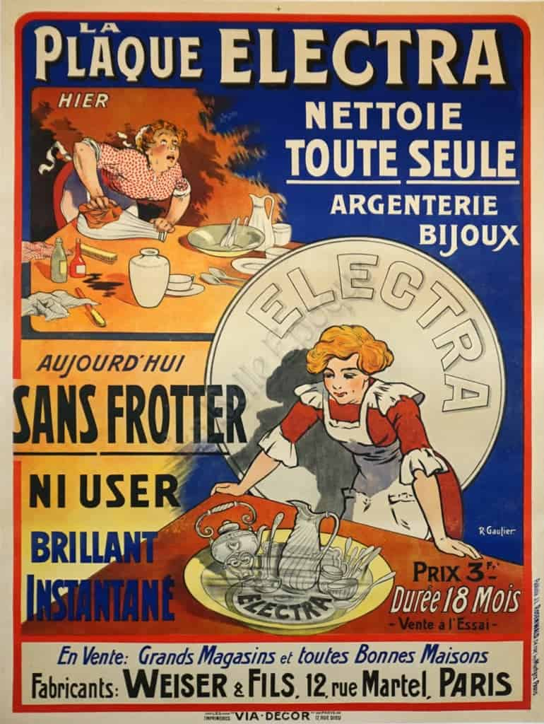 French Art Nouveau Silver Polish Advertising Poster