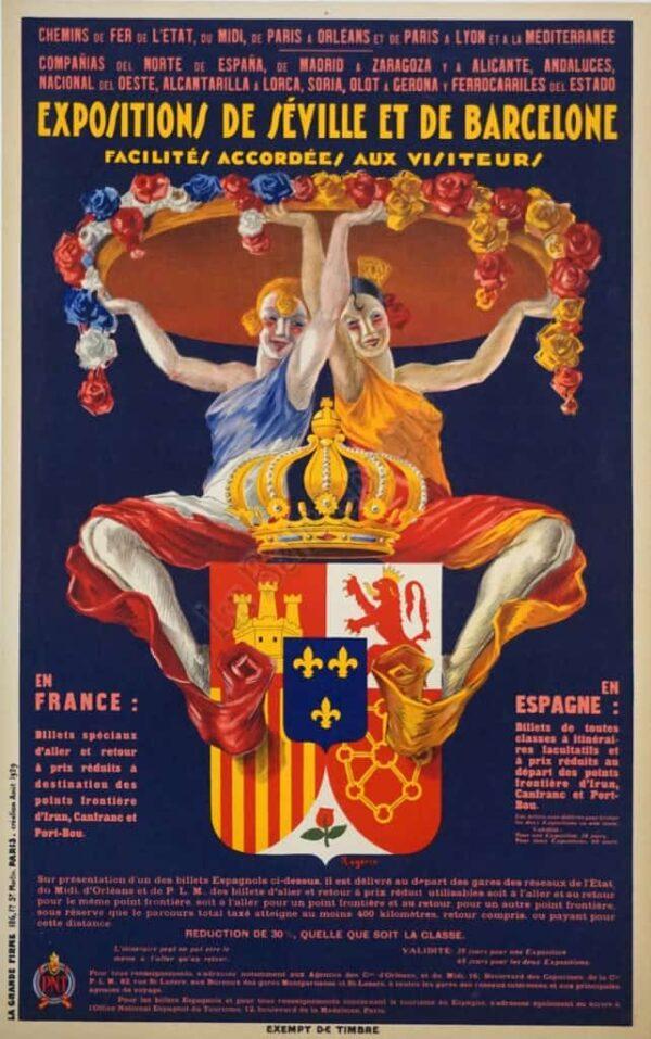 Expositions de Seville et de Barcelone Vintage Posters