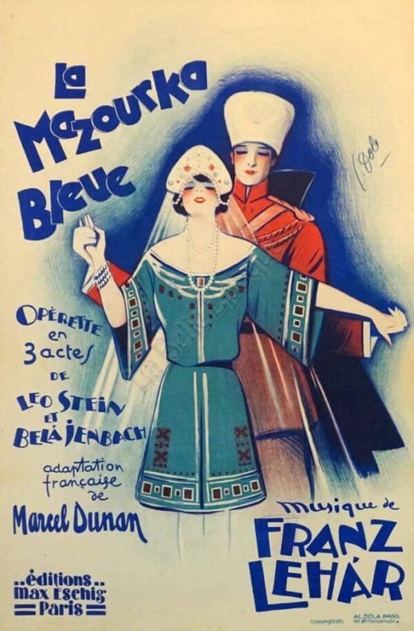 La Mazourka Bleue Franz Lehar vintage Posters