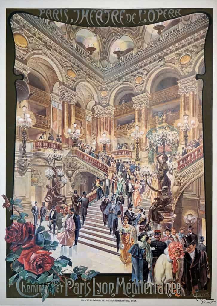 French Plm Vintage Travel Poster To Paris Theatre De L