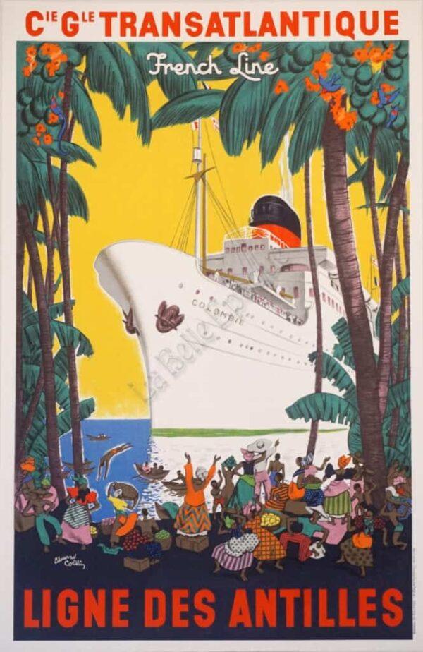 Transatlantique Ligne Des Antilles Vintage posters