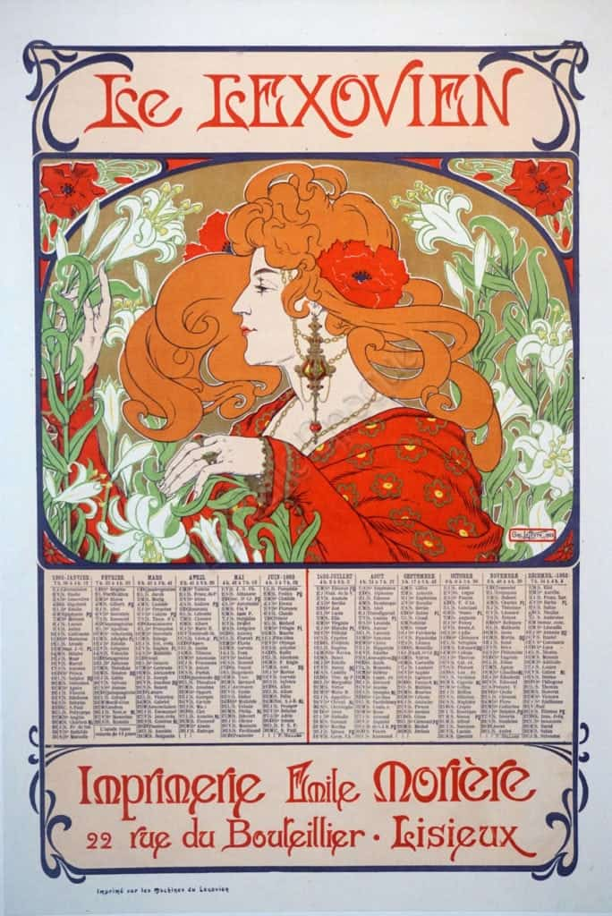 French Art Nouveau Vintage Calendar For