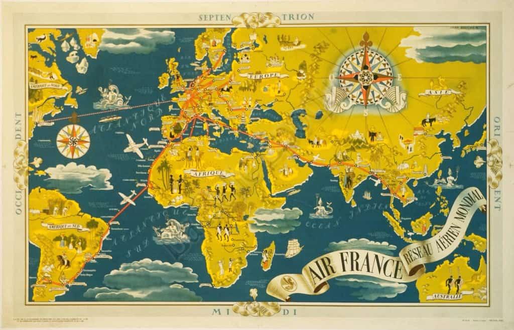 Septen Trion Midi Air France Vintage Posters