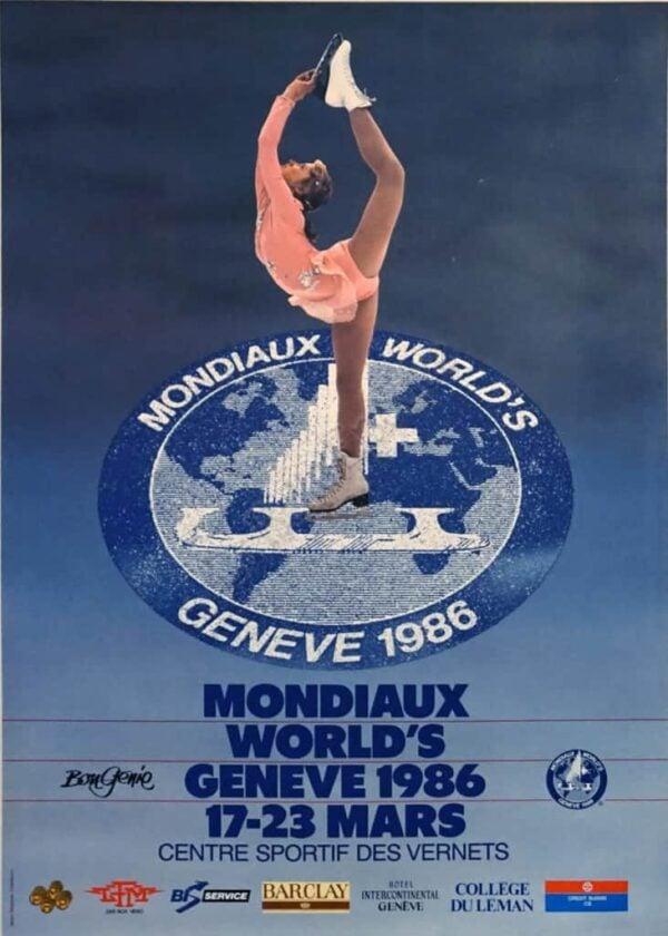 Mondiaux Ice Skating Vintage Poster