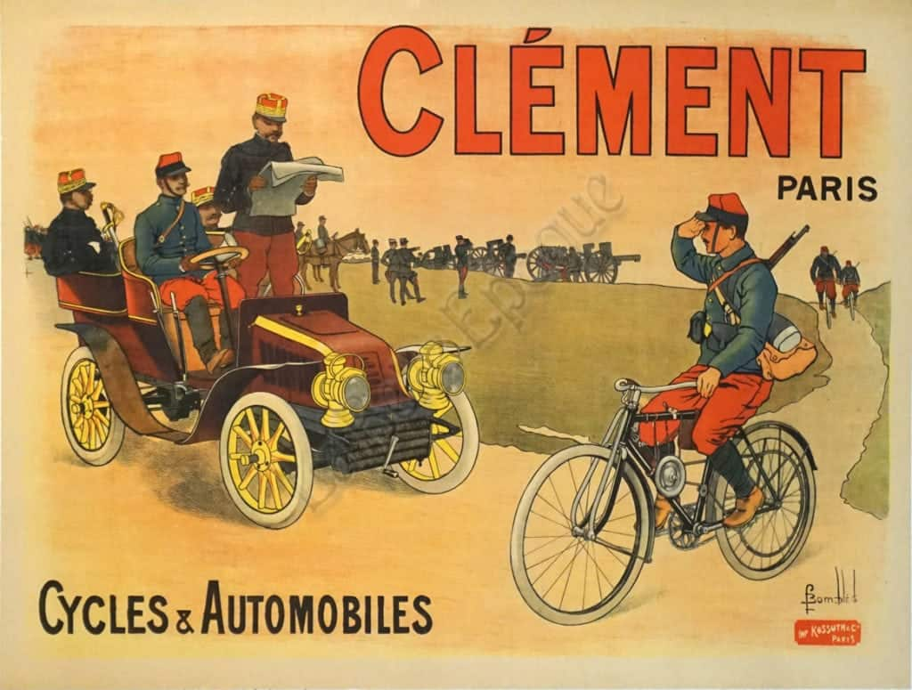 French Vintage Bicycle Poster Clement Cycles Automobiles By Louis Charles Bombled Vintage Posters By La Belle Epoque Vintage Posters In Nyc