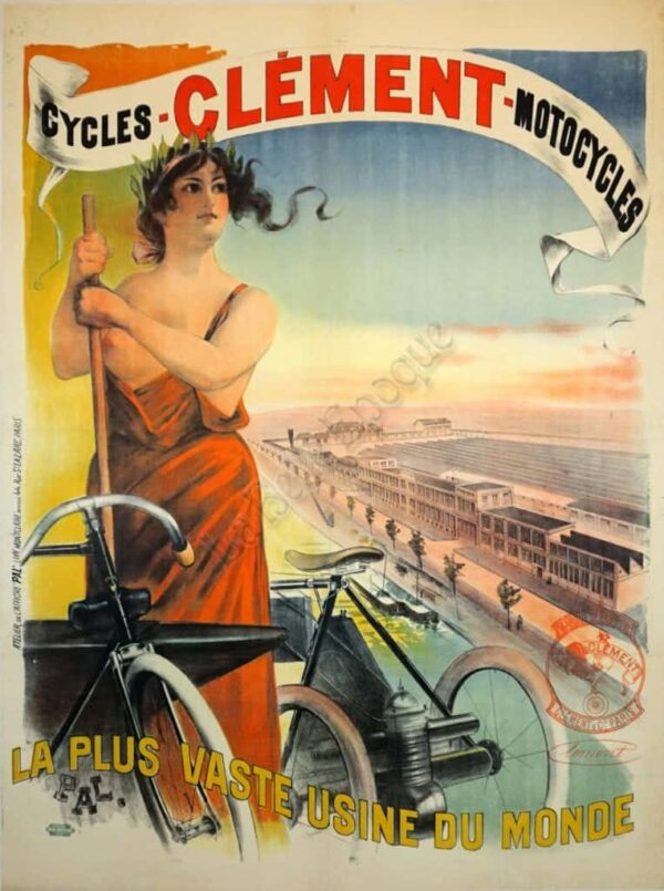Cycles Clement Motorcycles Vintage Posters