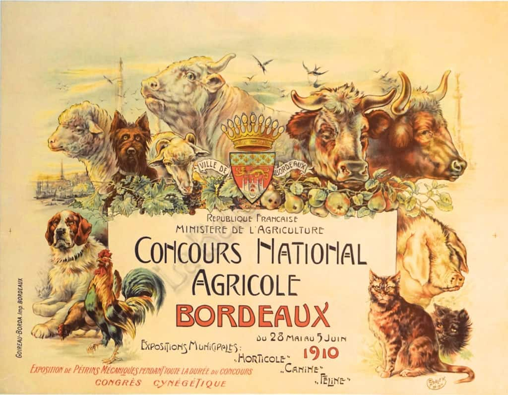 Concours National Agricole Bordeaux Vintage Posters