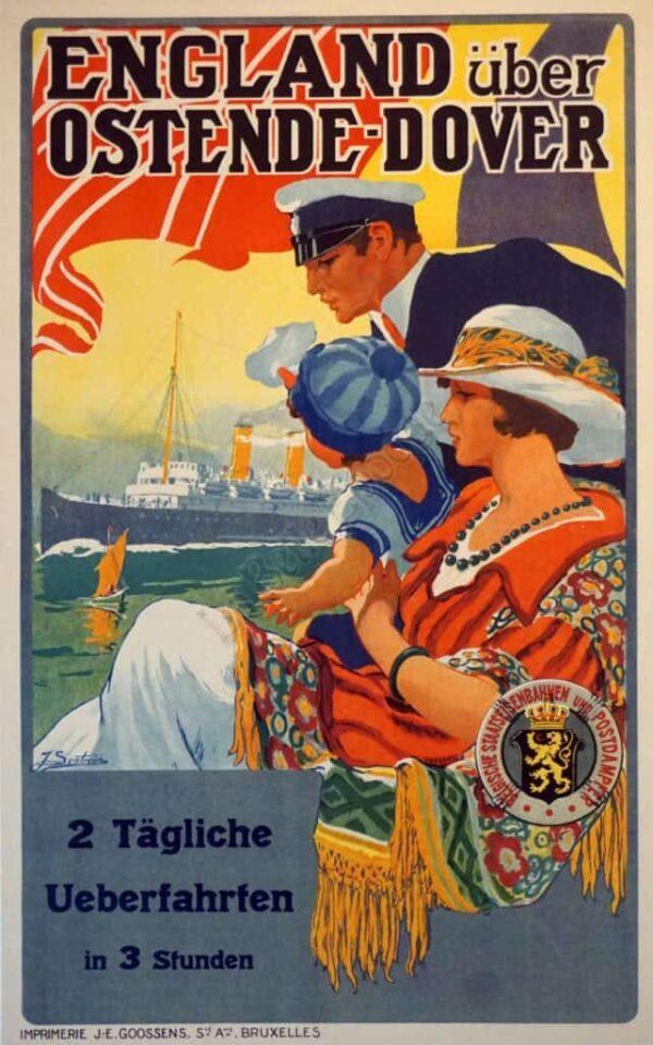 England uber Ostende Dover Vintage Posters