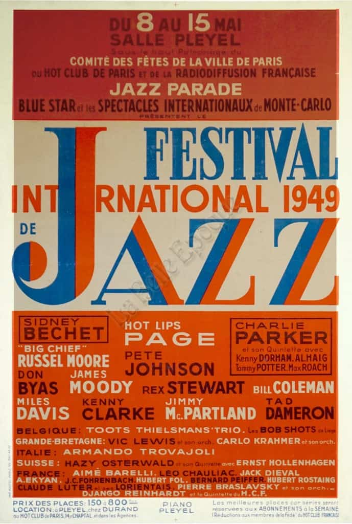french vintage mid century poster jazz festival international 1949 vintage antique posters by la belle epoque