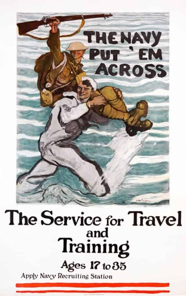 The Navy Put Em Across The Service for Travel and Training Vintage Posters