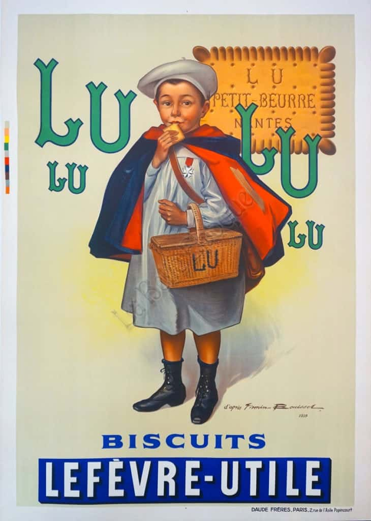Mucha Biscuits Champagne Lefevre-Utile Art Nouveau French Advertising Sign