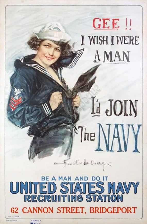 Gee I Wish I were a Man I'd Join the Navy Vintage Posters