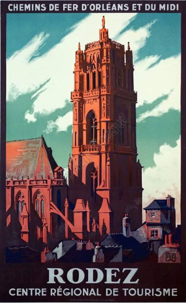 Rodez Centre Regional De Tourisme Vintage Posters