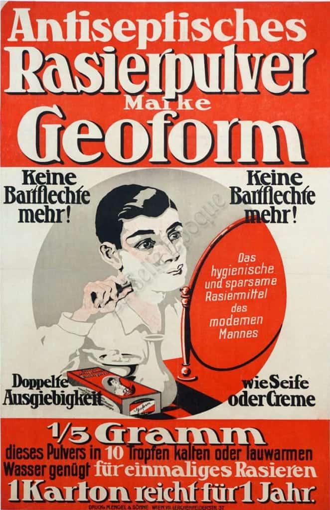 Antiseptisches Rasierpulver Marke Geoform Vintage Posters