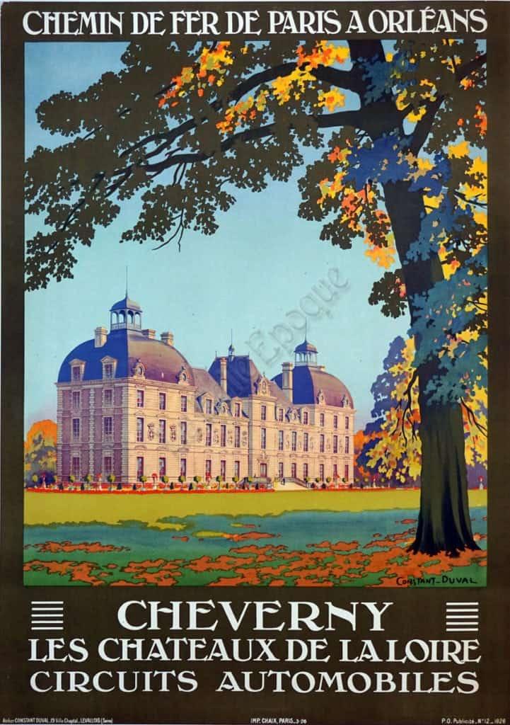 Chemin de fer de Paris a Orleans Chevery Les Chateaux de La Loire Circuits Automobiles Vintage Posters