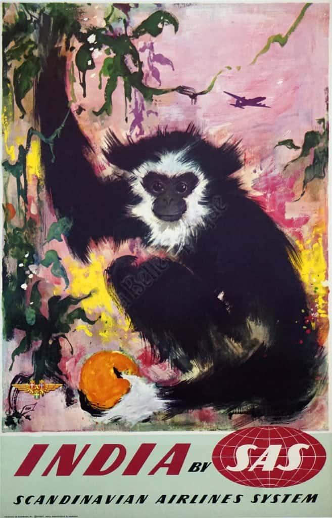 India By SAS Monkey Vintage Posters