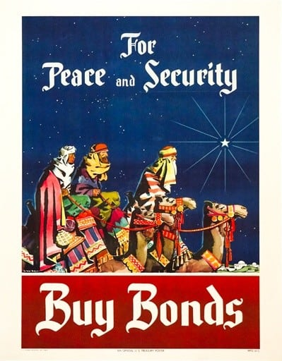 For Peace and Security Buy Bonds Vintage Poster