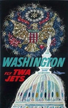 Washington Fly TWA Jets Vintage Poster