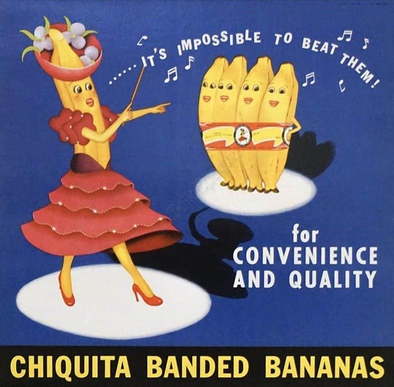 Chiquita Banded Bananas Vintage Poster